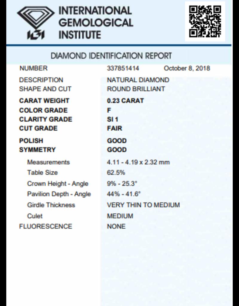 IGI Brillante - 0,23 ct - F - SI1 F/G/G None
