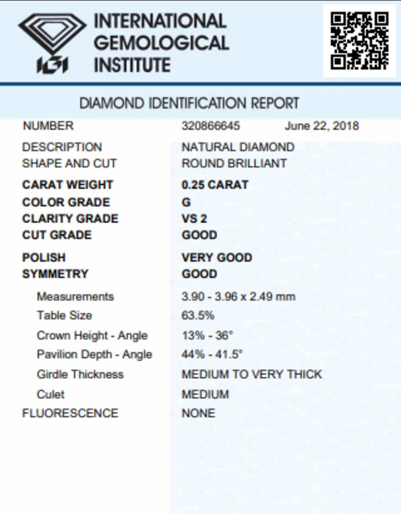 IGI Brillante - 0,25 ct - G - VS2 G/VG/G None