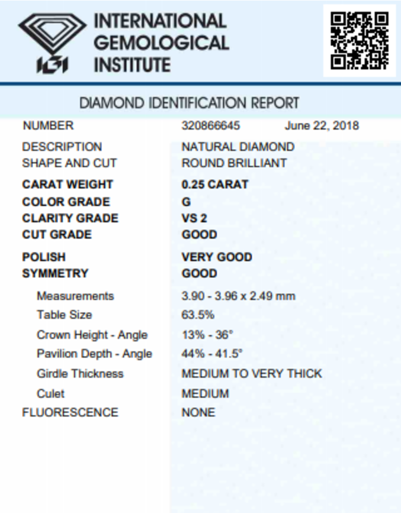 IGI Brilliant - 0,25 ct - G - VS2 G/VG/G None