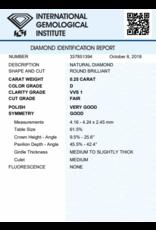 IGI Brilliant - 0,25 ct - D - VVS1 F/VG/G None