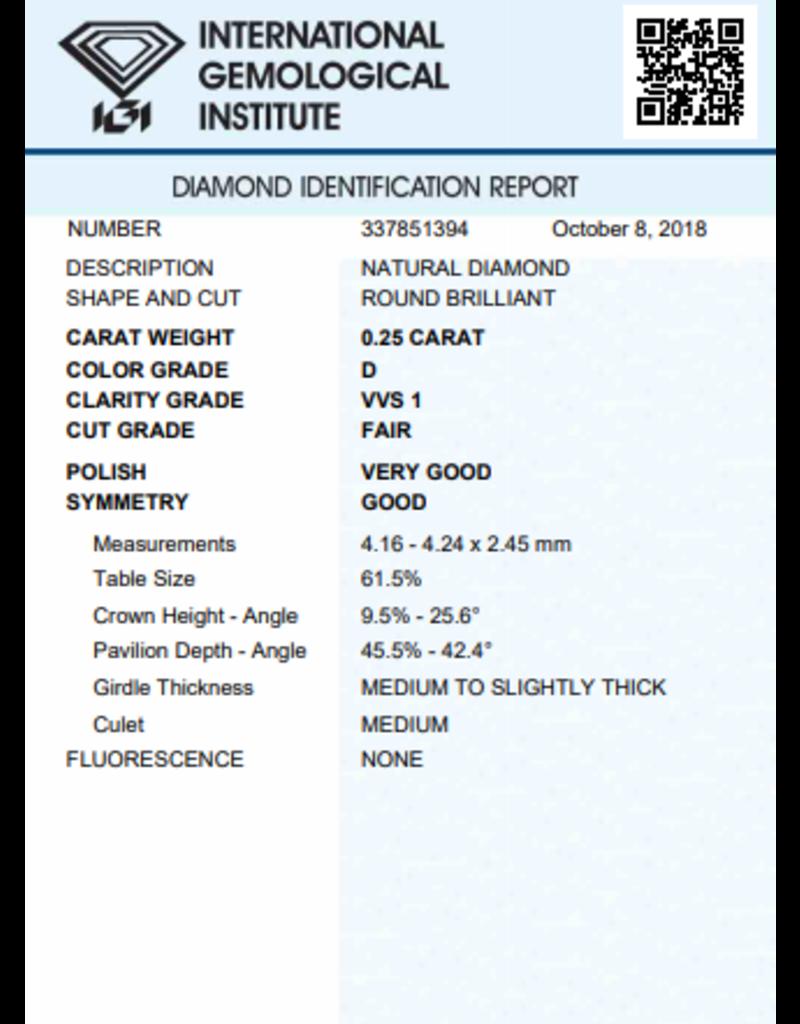 IGI Brillante - 0,25 ct - D - VVS1 F/VG/G None