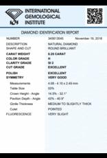 IGI Briljant - 0,25 ct - H - SI2 Exc/Exc/VG Very slight