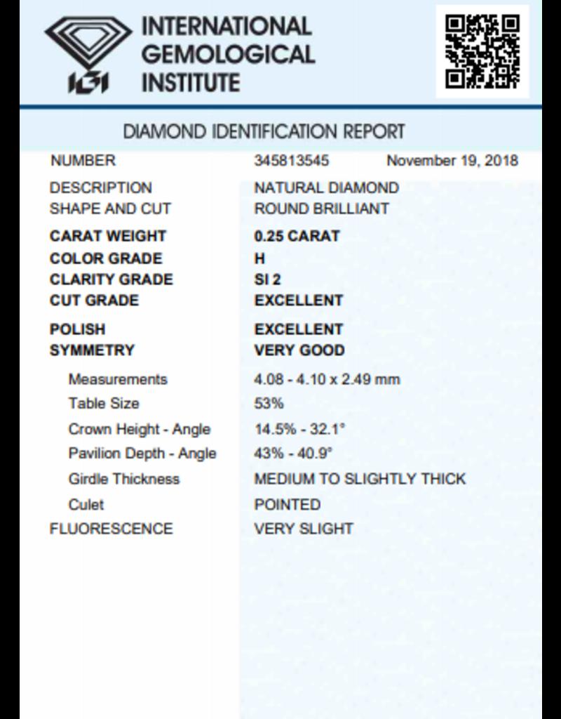 IGI Brilliant - 0,25 ct - H - SI2 Exc/Exc/VG Very slight