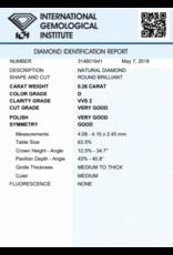 IGI Brillante - 0,26 ct - D - VVS2 VG/VG/G None