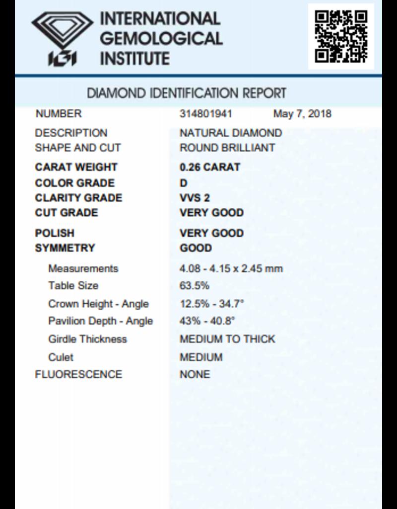 IGI Brilliant - 0,26 ct - D - VVS2 VG/VG/G None