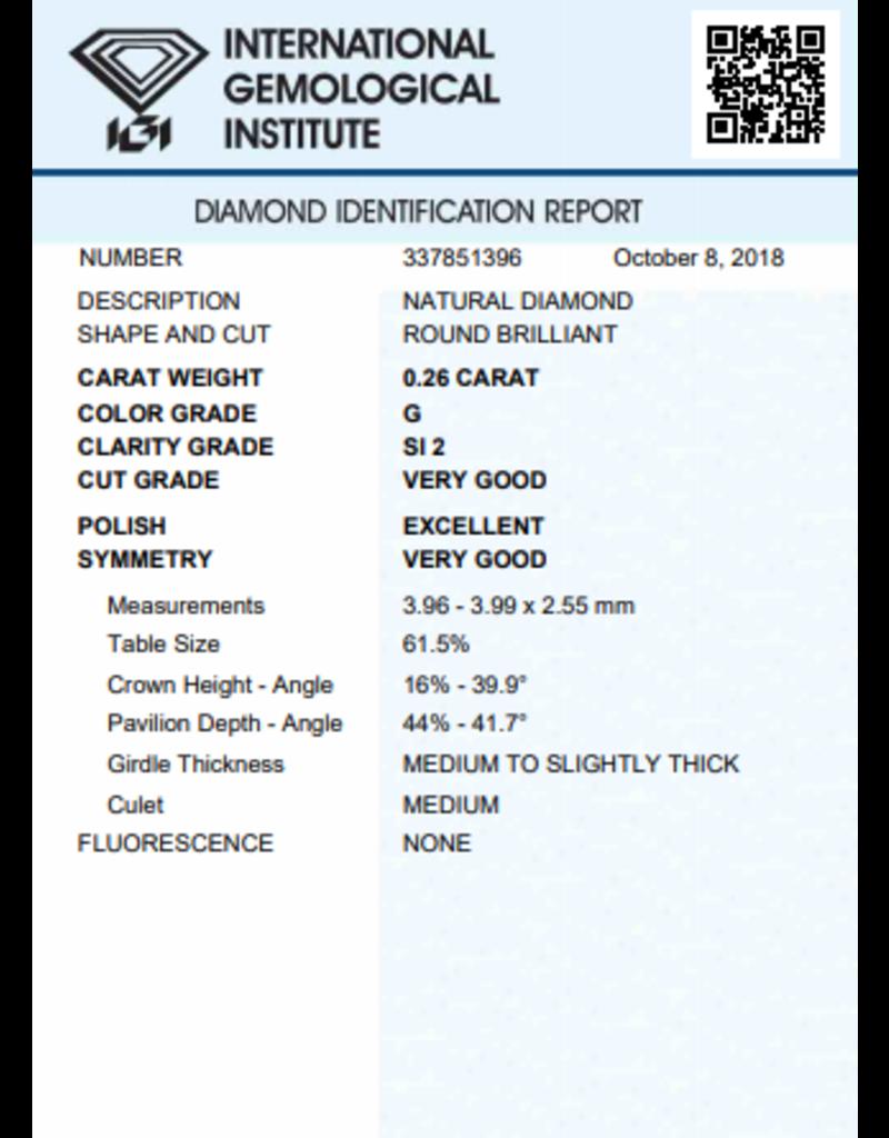 IGI Brillante - 0,26 ct - G - SI2 VG/Exc/VG None