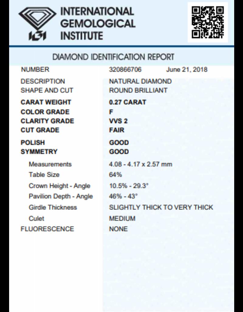 IGI Briljant - 0,27 ct - F - VVS2 F/G/G None