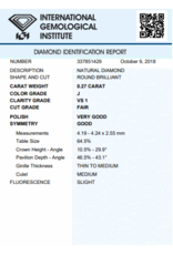 IGI Brillante - 0,27 ct - J - VS1 F/VG/G Slight