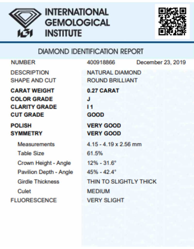 IGI Briljant - 0,27 ct - J - I1 G/VG/VG Very slight