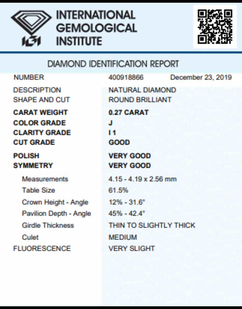 IGI Brilliant - 0,27 ct - J - I1 G/VG/VG Very slight