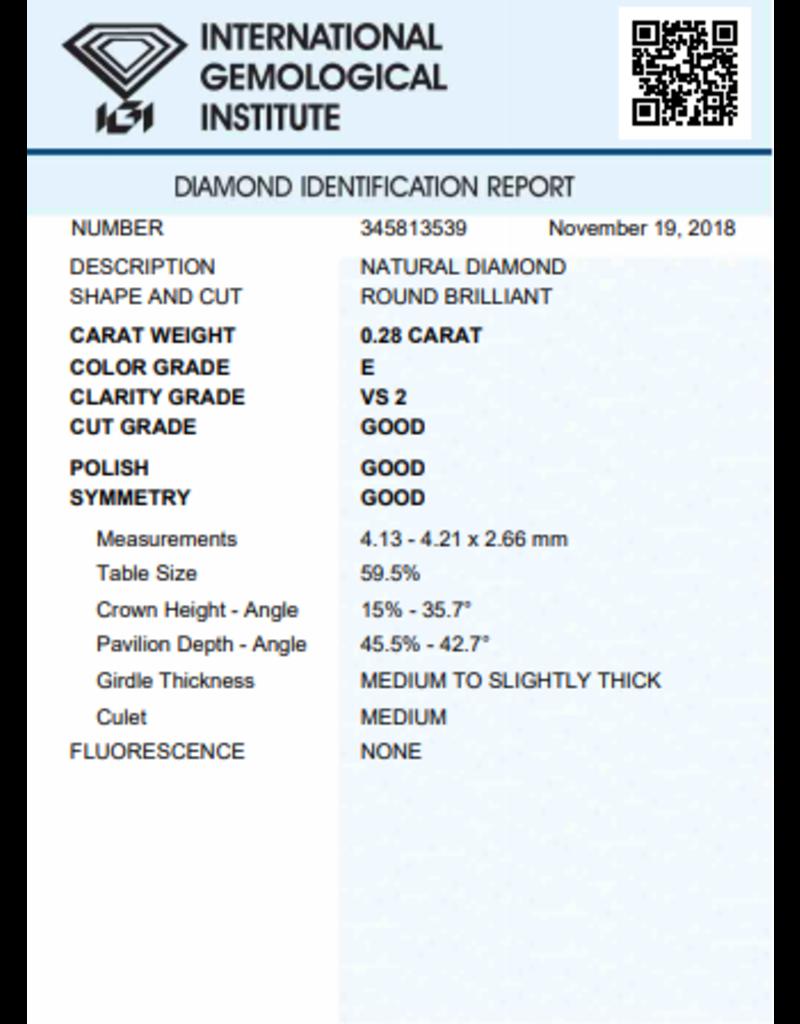 IGI Briljant - 0,28 ct - E - VS2 G/G/G None