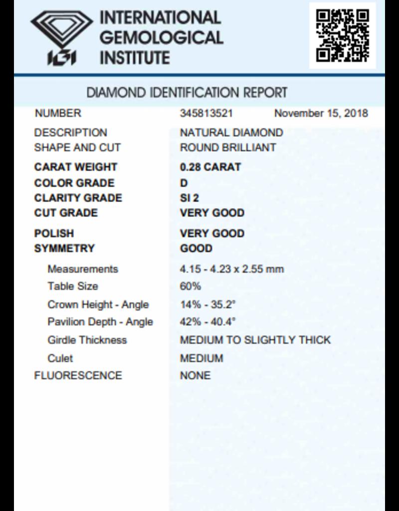 IGI Brilliant - 0,28 ct - D - SI2 VG/VG/G None