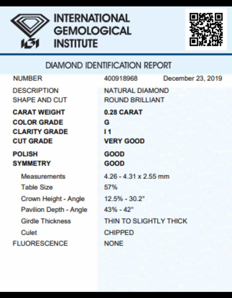 IGI Brillante - 0,28 ct - G - I1 VG/G/G None