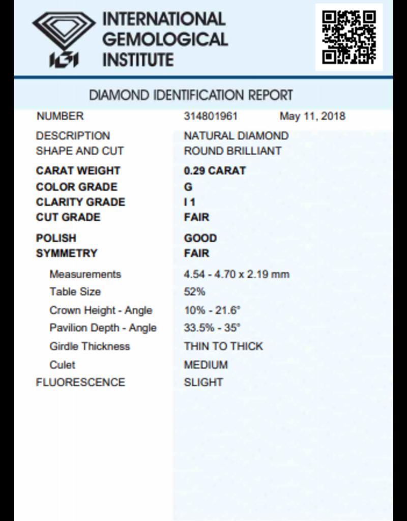 IGI Briljant - 0,29 ct - G - I1 F/G/F Slight