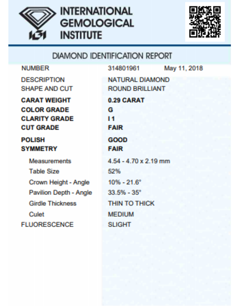 IGI Brillante - 0,29 ct - G - I1 F/G/F Slight