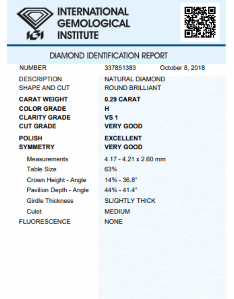 IGI Brillante - 0,29 ct - H - VS1 VG/Exc/VG None