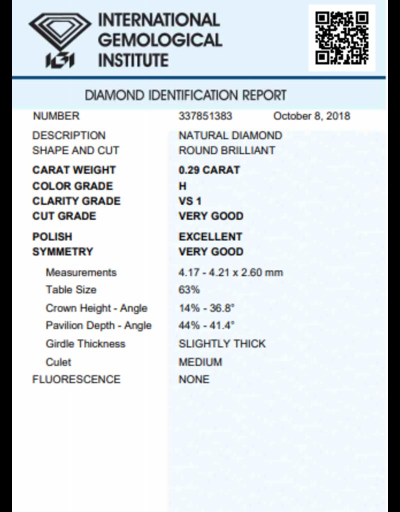 IGI Brilliant - 0,29 ct - H - VS1 VG/Exc/VG None