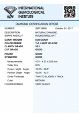 IGI Briljant - 0,30 ct - Y-Z - VS1 G/G/G Very slight