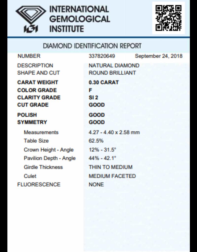 IGI Brilliant - 0,30 ct - F - SI2 G/G/G None