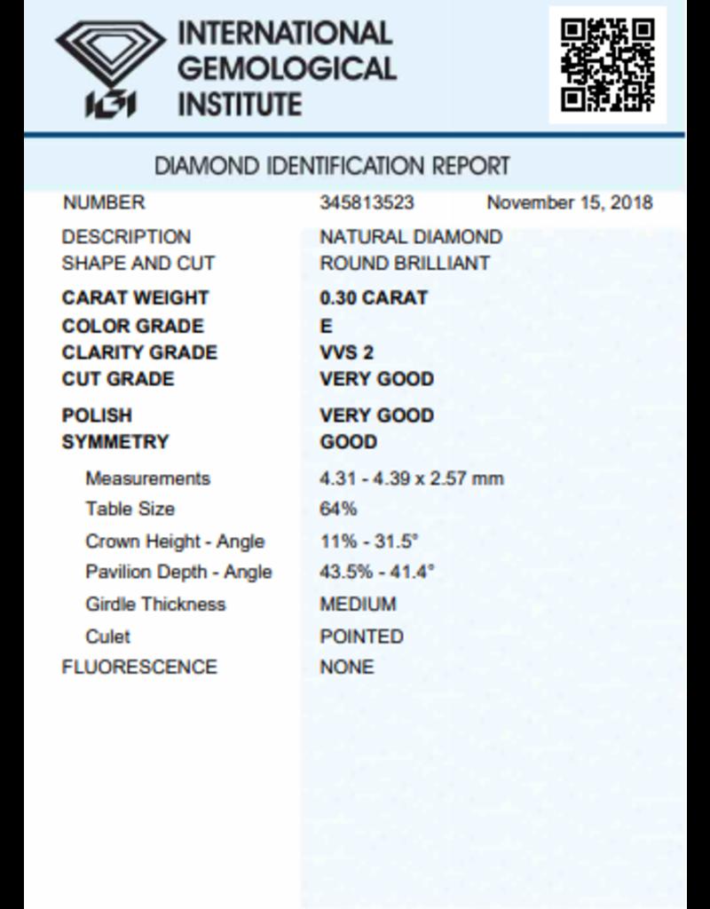 IGI Brilliant - 0,30 ct - E - VVS2 VG/VG/G None