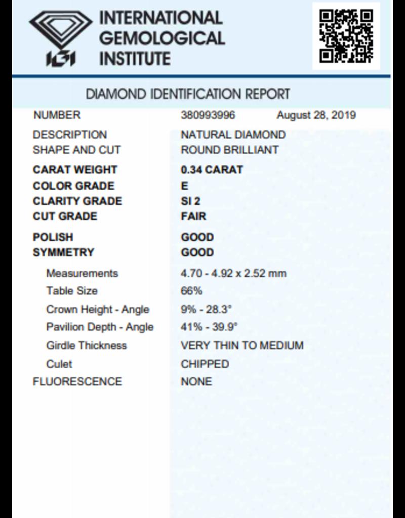 IGI Brillante - 0,34 ct - E - SI2 F/G/G None