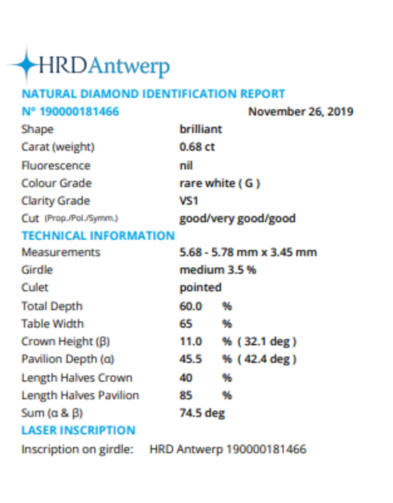 HRD Briljant - 0,68 ct - G - VS1 G/VG/G None