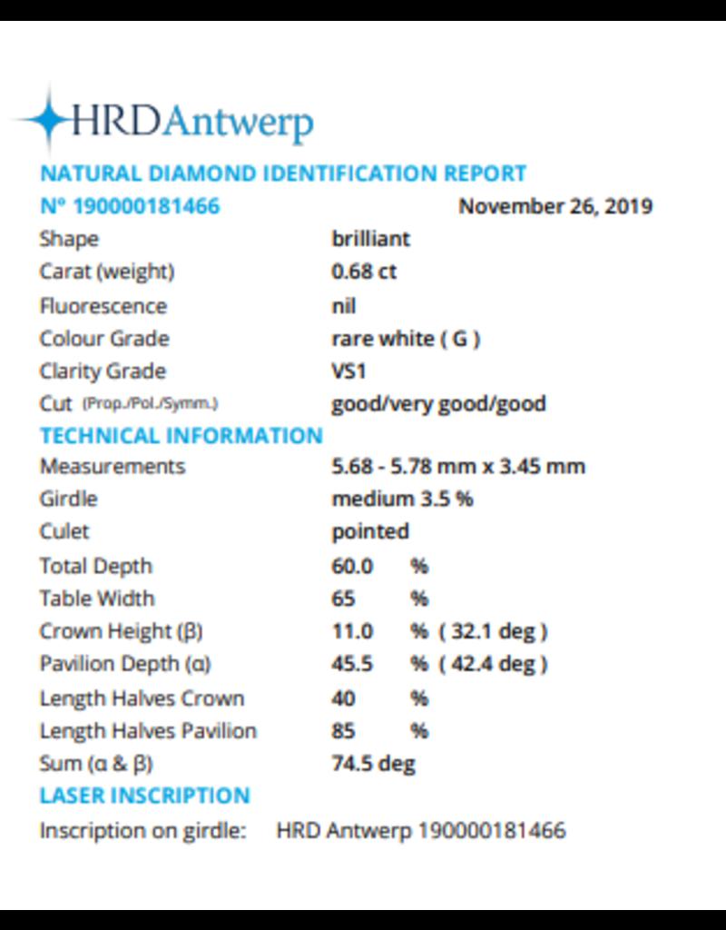 HRD Brillante - 0,68 ct - G - VS1 G/VG/G None