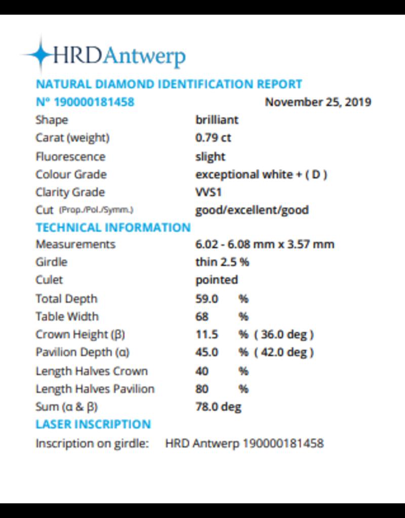HRD Brilliant - 0,79 ct - D - VVS1 G/Exc/G Slight
