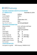 HRD Briljant - 0,85 ct - M - VVS1 F/VG/G None