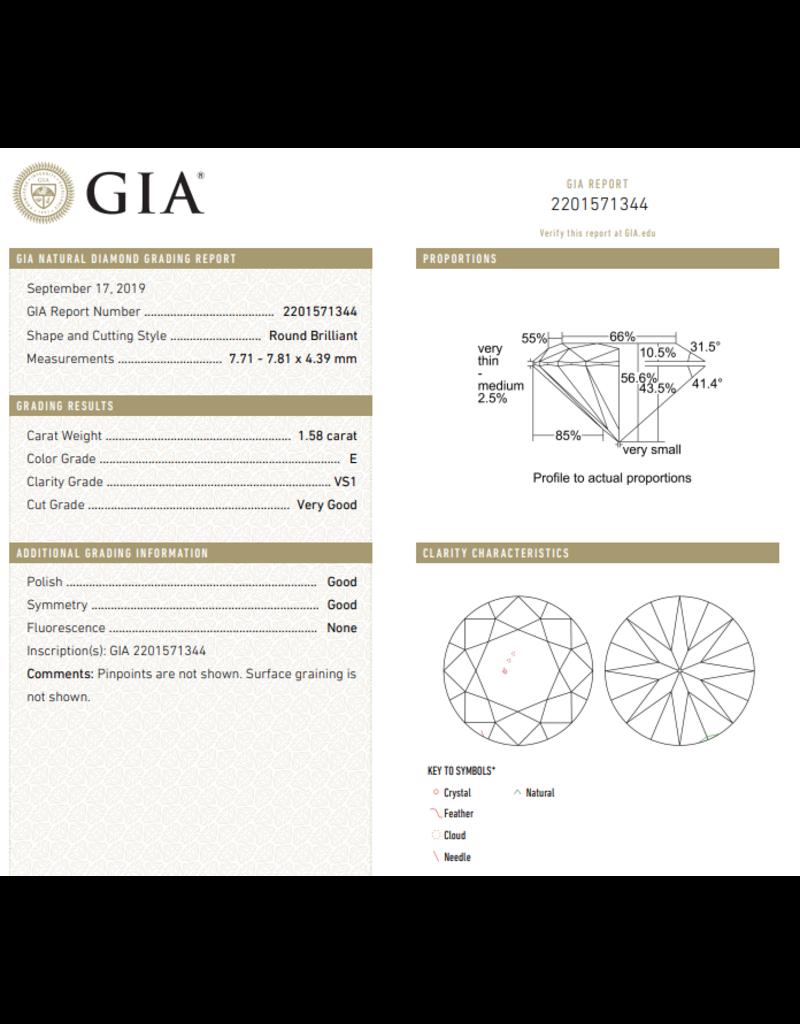 GIA Briljant - 1,58 ct - E - VS1 VG/G/G None
