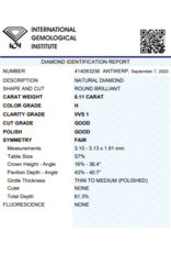 IGI Brillante - 0,11 ct - H - VVS1 G/G/F None