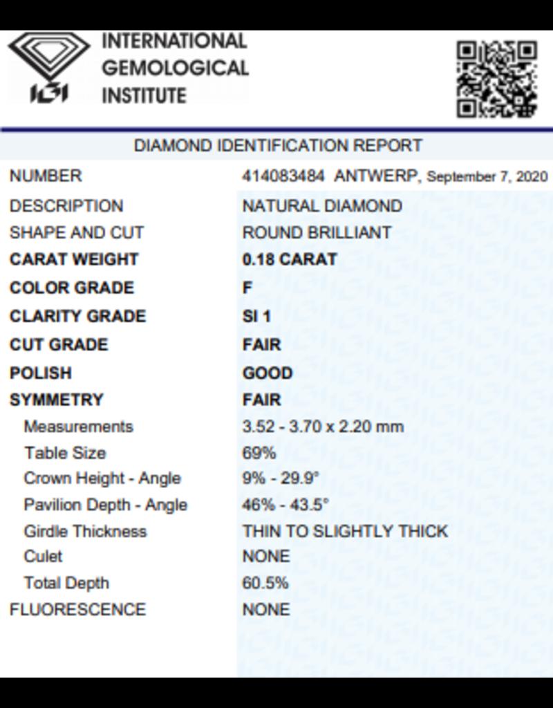 IGI Brilliant - 0,18 ct - F - SI1 F/G/F None