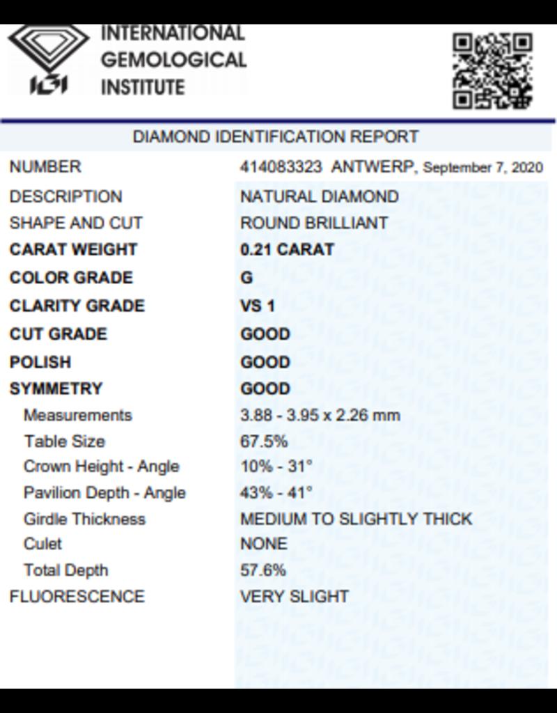IGI Briljant - 0,21 ct - G - VS1 G/G/G Very slight