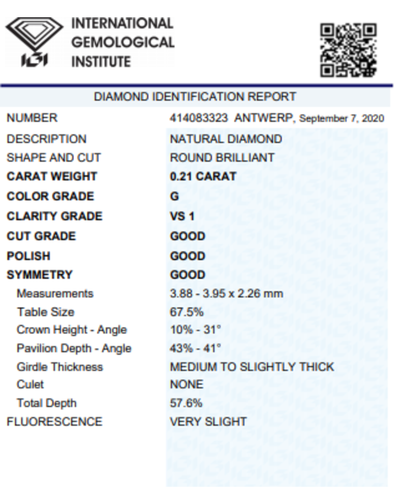 IGI Brilliant - 0,21 ct - G - VS1 G/G/G Very slight