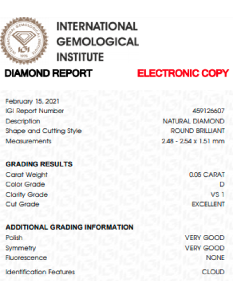 IGI Brilliant - 0,05 ct - D - VS1 Exc/VG/VG None