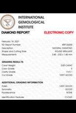 IGI Brilliant - 0,05 ct - E - VVS1 VG/VG/G None