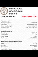 IGI Briljant - 0,054 ct - D - VVS1 VG/G/VG None