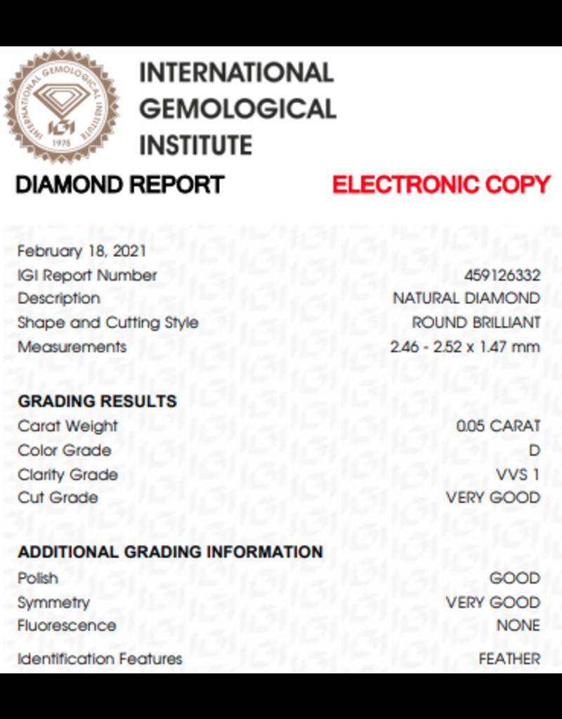 IGI Brilliant - 0,054 ct - D - VVS1 VG/G/VG None