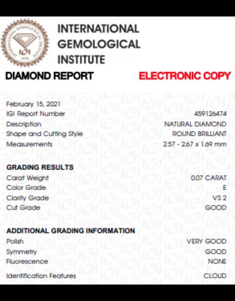 IGI Briljant - 0,07 ct - E - VS2 G/VG/G None