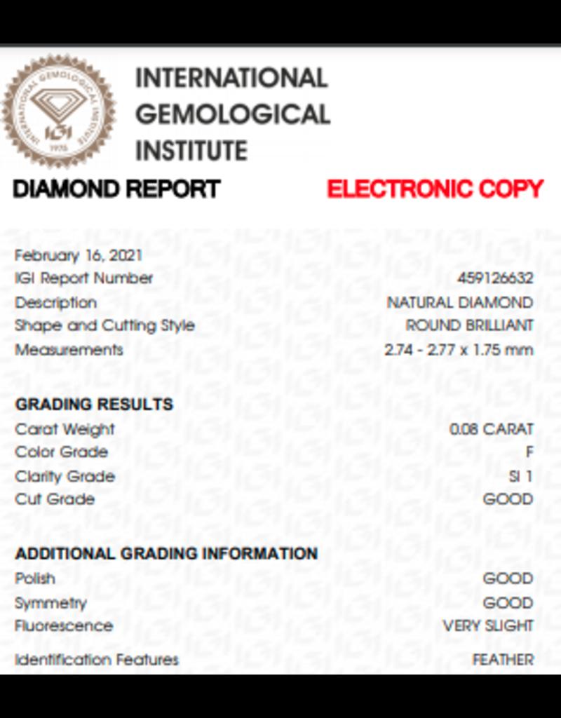 IGI Brilliant - 0,08 ct - F - SI1 G/G/G Very slight