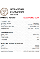 IGI Brilliant - 0,08 ct - H - VS2 F/G/G Very slight