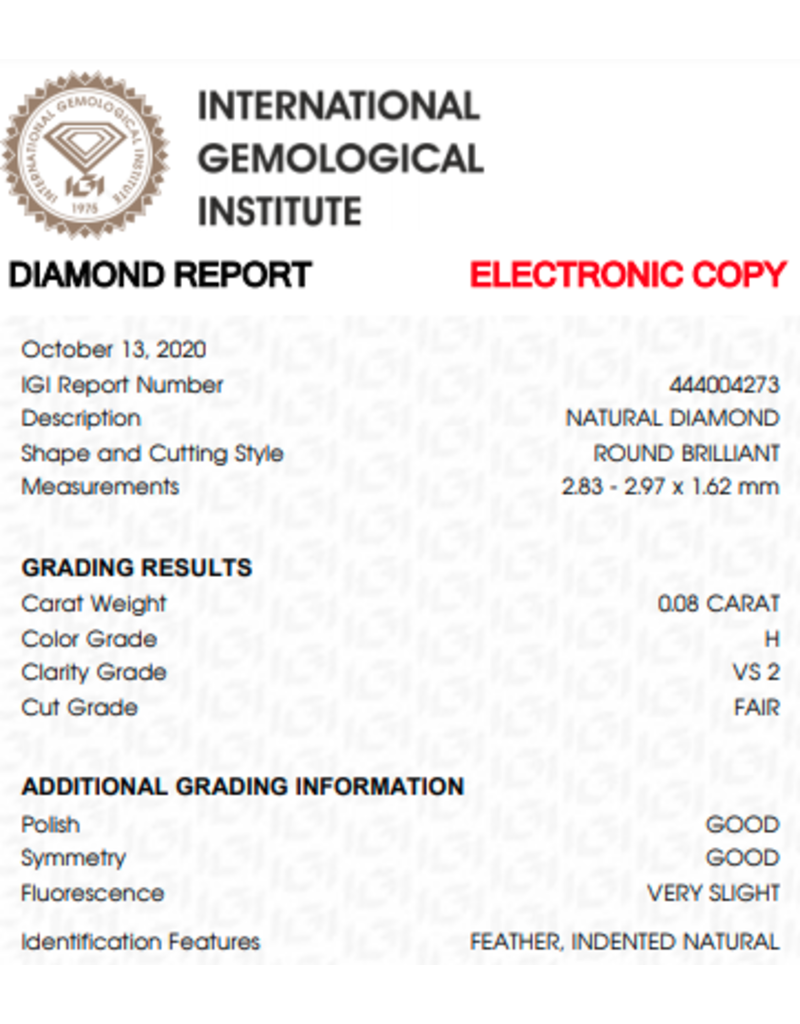 IGI Briljant - 0,08 ct - H - VS2 F/G/G Very slight