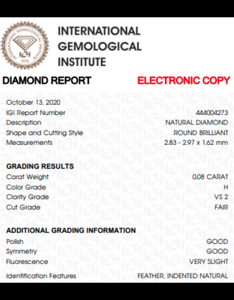 IGI Brillante - 0,08 ct - H - VS2 F/G/G Very slight