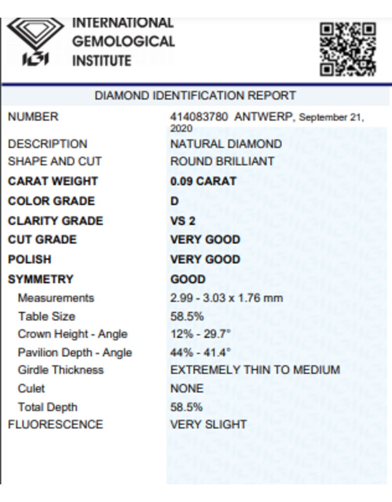 IGI Brillante - 0,09 ct - D - VS2 VG/VG/G Very slight