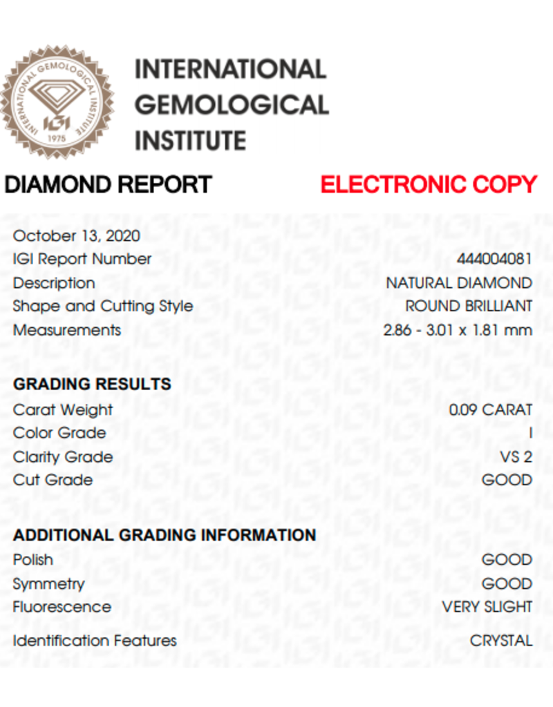 IGI Briljant - 0,09 ct - I - VS2 G/G/G Very slight