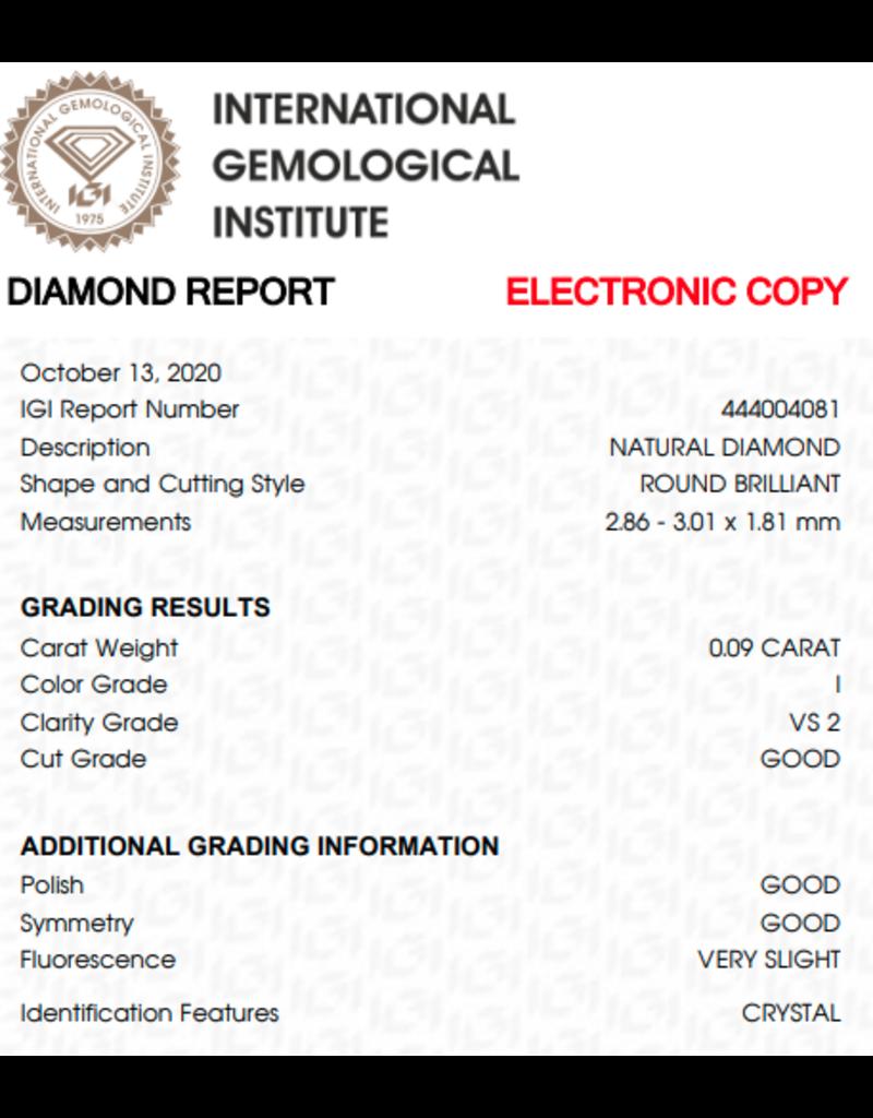 IGI Brilliant - 0,09 ct - I - VS2 G/G/G Very slight