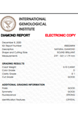 IGI Briljant - 0,10 ct - D - SI1 G/G/G Strong