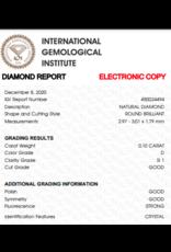 IGI Brilliant - 0,10 ct - D - SI1 G/G/G Strong