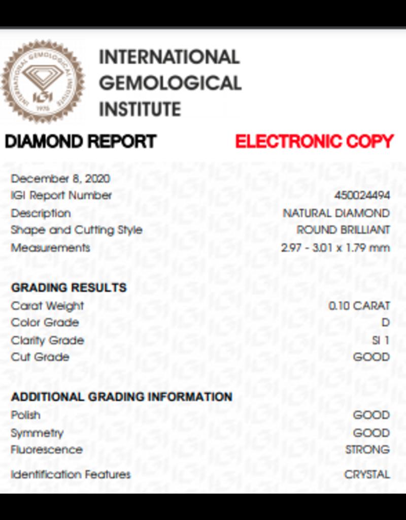 IGI Brillante - 0,10 ct - D - SI1 G/G/G Strong