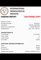 IGI Brilliant - 0,10 ct - H - SI1 G/G/G None